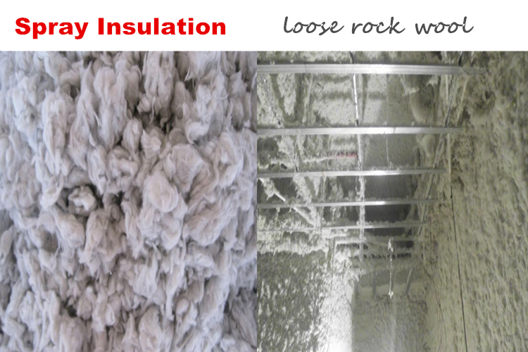 Spray insulation loose rock wool